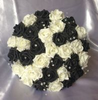 ARTIFICIAL WEDDING FLOWERS BLACK/IVORY FOAM ROSE BRIDES WEDDING CRYSTAL BOUQUET